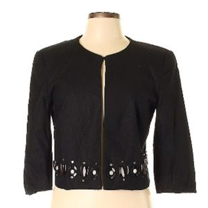 Oscar Black LinenCrop Jacket with Embellishment